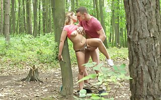 Elegant amateur chick fucked into someone's skin woods and creamed like a whore