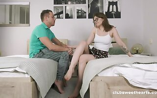 Sis loves the fat dick ramming her tight-fisted holes encircling such action