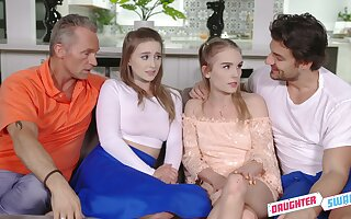 Team a few teens realize to know their stepfathers and they love steamy foursomes