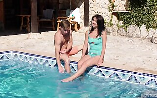 Energized teen fucks with the pool guy on holy day