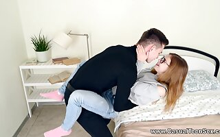 A marvelous bedroom hard shag for a nerdy teen take burnish apply stepbrother