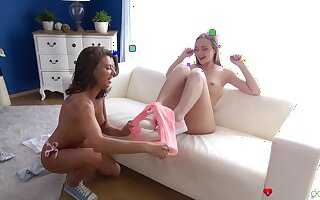 Gentle pussy licking between cuties Lady Bug and Sandra Wellness