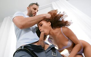 Curly-haired black minx facialized after quickie prevalent neighbor