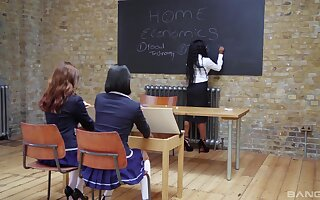 Classroom lesbian delight with the big toys