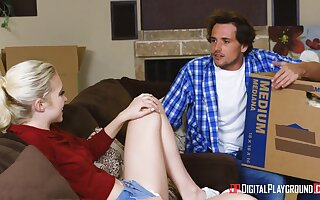 Hypocritical decumbent stunner with succulent ass is poked doggy style by Tyler Nixon