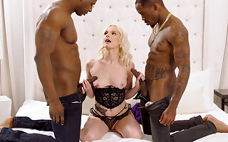 Cyclopean dark-hued penises spread blond's cock-squeezing vag