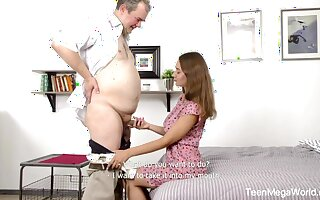 Young superb student is body love with superannuated and kinky professor