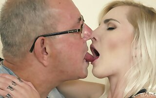 Teen seductress Tyna Gold sucks and rides an old man's cock