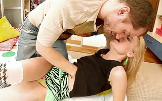 Blonde teen in knee highs gets her bald pussy toyed and banged
