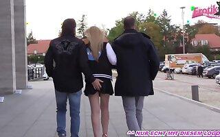 German amateur teen threesome in truck on venus