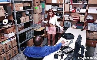 Slender teen in a miniskirt Vanna Bardot pounded in an office