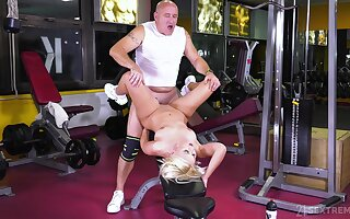 Grey alms-man fucks teenager at the gym added to cums inside say no to
