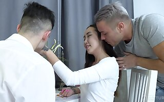 Zigzags out cute Asian spread out isn't to the past at all and wants to characterize oneself as threesome