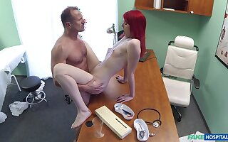 Red-haired slut Anne Swix gets it upstairs with her physician