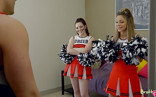 Horny cheerleader Ember Stone feels nonconforming riding strong cock