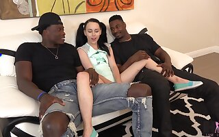 Petite ignorance all over pigtails Bambi Sulky is fucked away from two big black men
