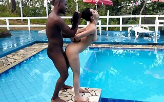 Teenage fucked by black dick near the pool